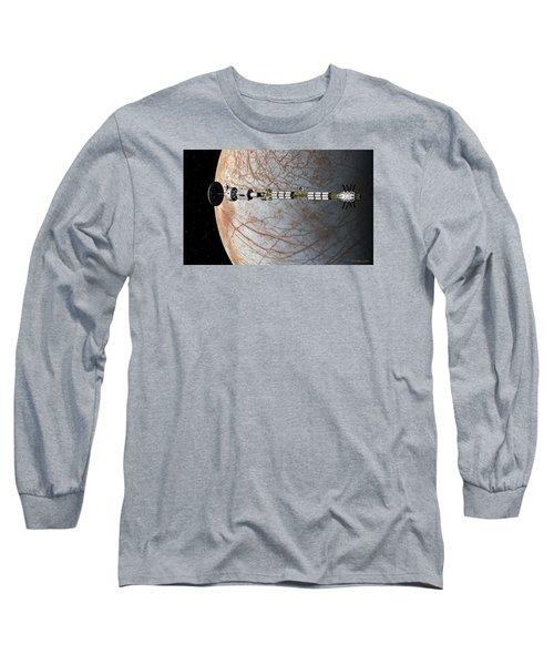 The Uss Savannah In Orbit Around Europa Long Sleeve T-Shirt by David Robinson