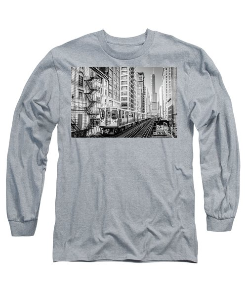 The Wabash L Train In Black And White Long Sleeve T-Shirt
