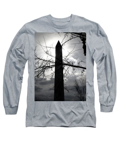 The Washington Monument - Black And White Long Sleeve T-Shirt
