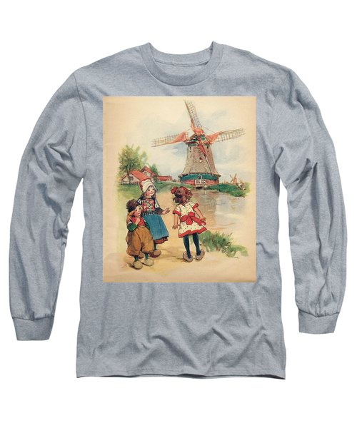 The Windmill And The Little Wooden Shoes Long Sleeve T-Shirt by Reynold Jay