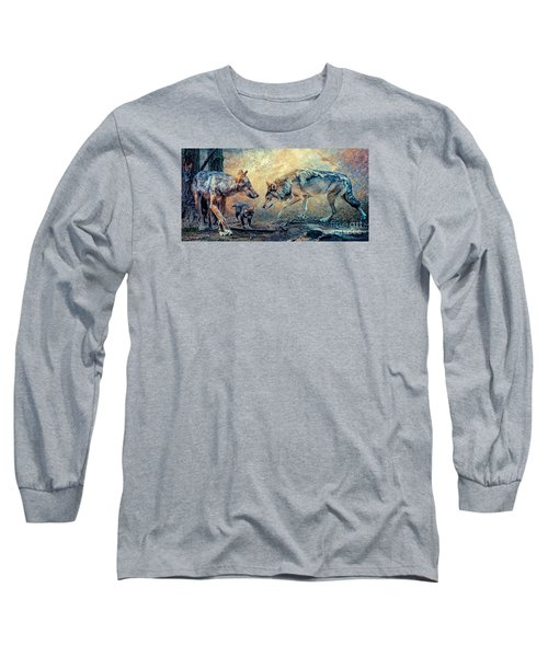 Long Sleeve T-Shirt featuring the photograph The Wolf Family by Brian Tarr
