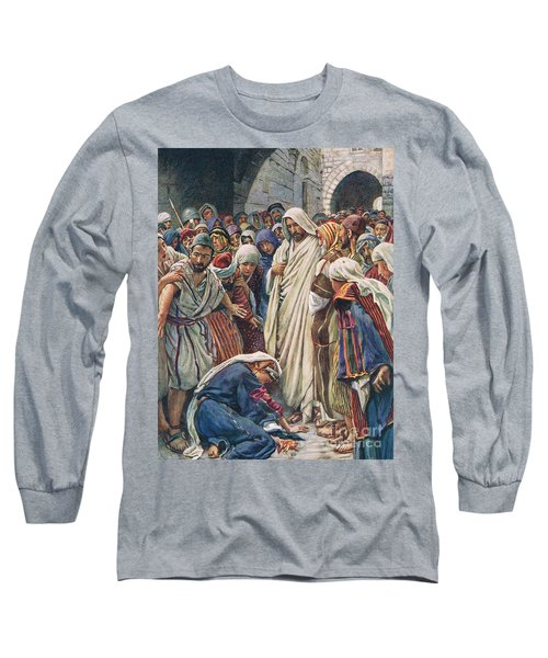 The Woman Who Touched The Hem Of His Garment Long Sleeve T-Shirt