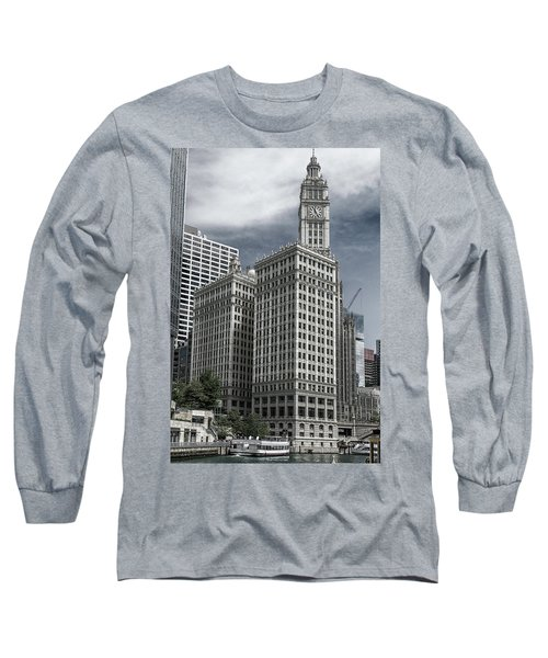 Long Sleeve T-Shirt featuring the photograph The Wrigley Building by Alan Toepfer