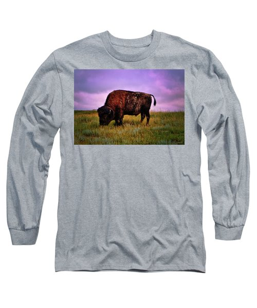 Long Sleeve T-Shirt featuring the photograph Theodore Roosevelt National Park 008 - Buffalo by George Bostian