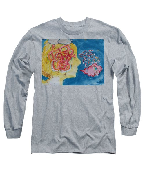 Long Sleeve T-Shirt featuring the painting Thinking by Tilly Strauss