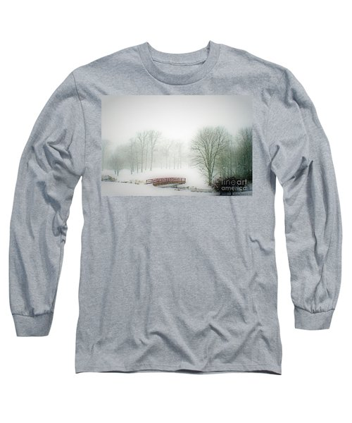 This Small Bridge, Located On A Golf Course, Always Provides A Scenic View. When A December Blizzard Long Sleeve T-Shirt