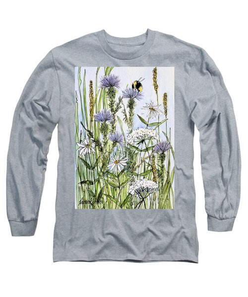 Thistles Daisies And Wildflowers Long Sleeve T-Shirt by Laurie Rohner