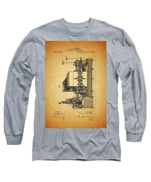 Thomas Edison Generator Patent Long Sleeve T-Shirt by Dan Sproul