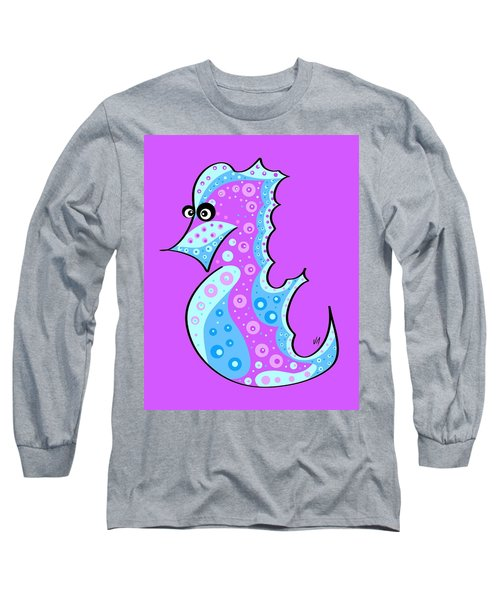 Long Sleeve T-Shirt featuring the painting Thoughts And Colors Series Seahorse by Veronica Minozzi