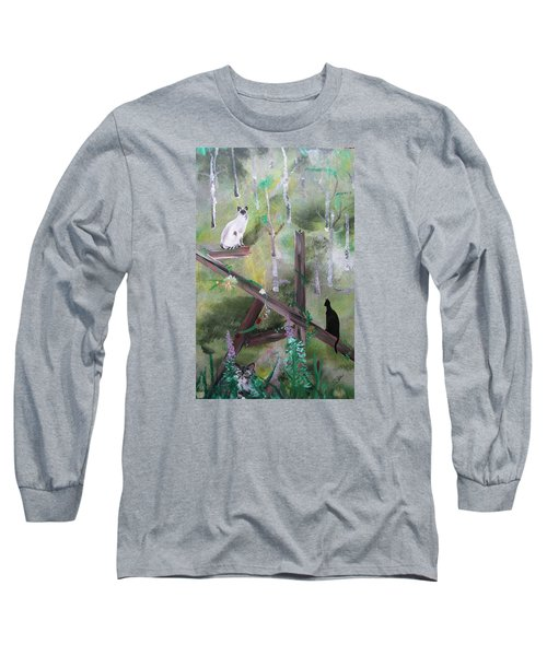 Three Cats In The Yard Long Sleeve T-Shirt