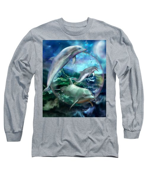 Long Sleeve T-Shirt featuring the mixed media Three Dolphins by Carol Cavalaris