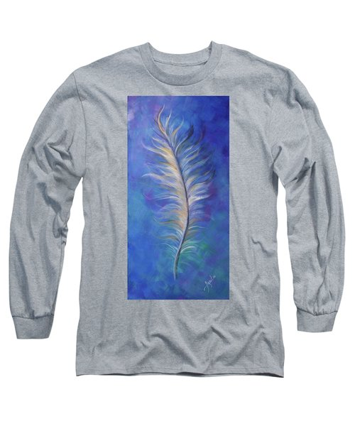 Long Sleeve T-Shirt featuring the painting Three Feathers Triptych-right Panel by Agata Lindquist