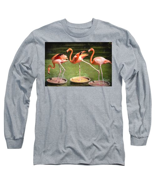 Three Flamingos Long Sleeve T-Shirt by Judy Wolinsky