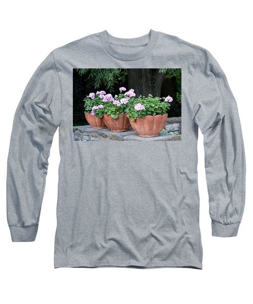Three Flower Pots Long Sleeve T-Shirt by Deborah  Crew-Johnson
