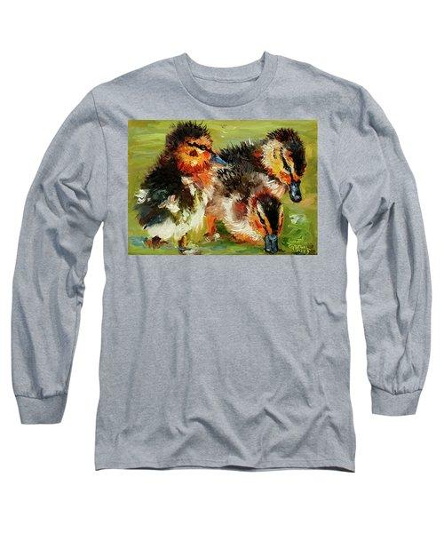 Three Little Ducks Long Sleeve T-Shirt by Janet Garcia