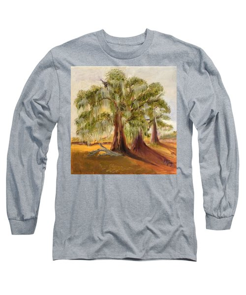 Three Live Oaks With Spanish Moss In A Florida Cow Pasture Long Sleeve T-Shirt