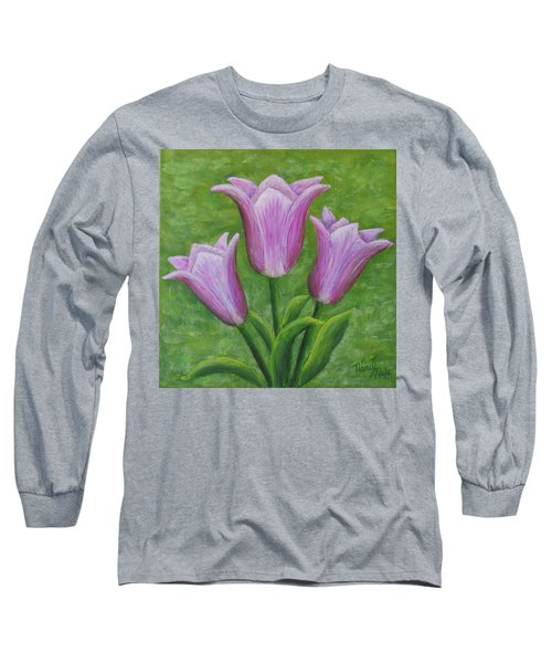 Long Sleeve T-Shirt featuring the painting Three Pink Tulips by Nancy Nale