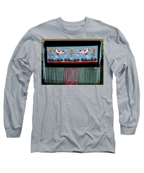 Long Sleeve T-Shirt featuring the tapestry - textile Thunder Pony by Chholing Taha