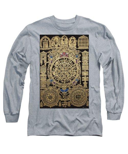 Tibetan Astrological Diagram Long Sleeve T-Shirt by Serge Averbukh