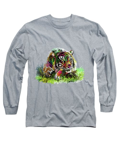 Colorful Tiger Long Sleeve T-Shirt by Anthony Mwangi