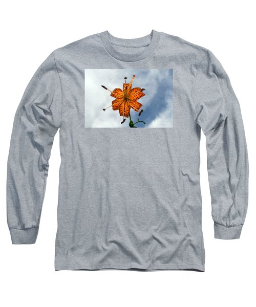 Tiger Lily In A Shower Long Sleeve T-Shirt by Kevin Fortier