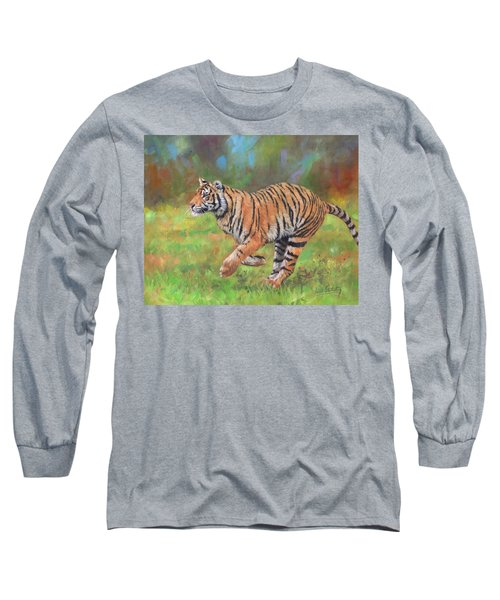 Long Sleeve T-Shirt featuring the painting Tiger Running by David Stribbling