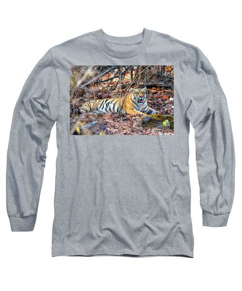 Tigress In The Woods Long Sleeve T-Shirt by Pravine Chester