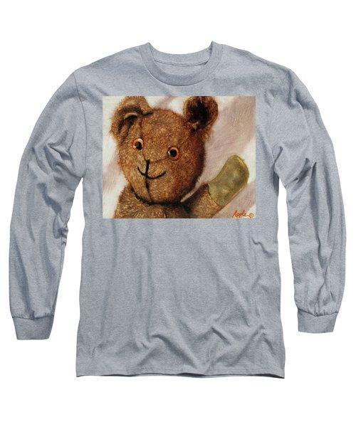 Tillie - Vintage Bear Painting Long Sleeve T-Shirt by Linda Apple
