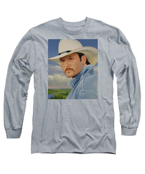 Long Sleeve T-Shirt featuring the painting Tim Mcgraw by Cliff Spohn