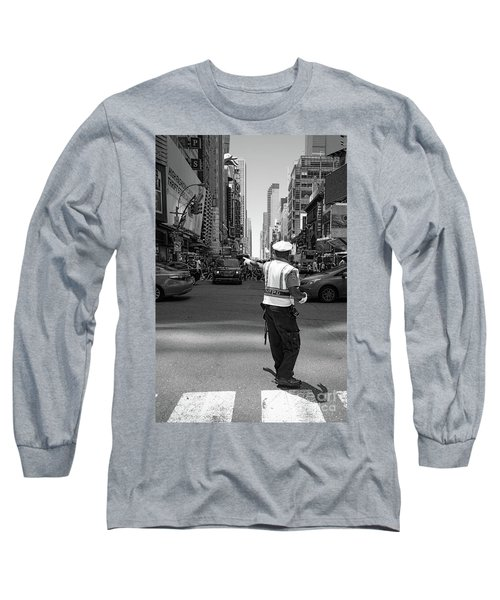 Long Sleeve T-Shirt featuring the photograph Times Square, New York City  -27854-bw by John Bald