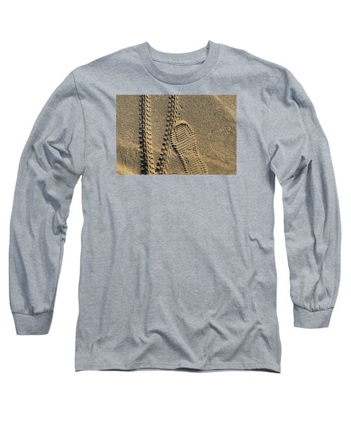 Long Sleeve T-Shirt featuring the photograph Tire And Sneaker Tracks by Lyle Crump