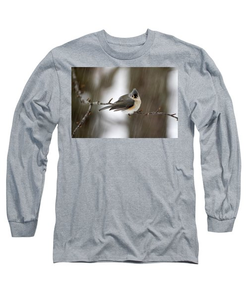Titmouse During Snow Storm Long Sleeve T-Shirt by Betty Pauwels