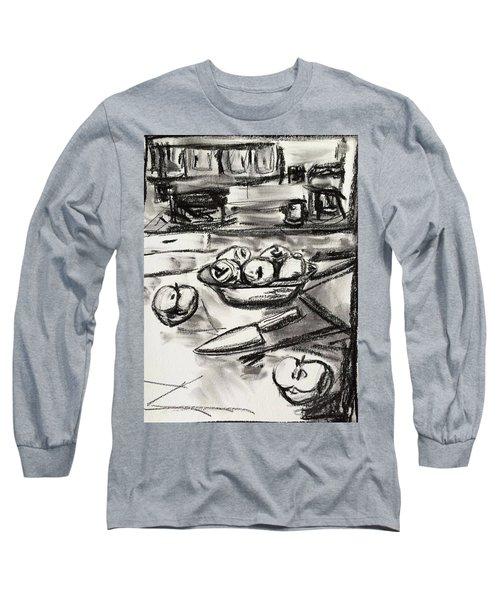 Apples At Breakfast Long Sleeve T-Shirt by Brenda Pressnall