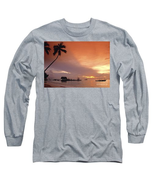 Long Sleeve T-Shirt featuring the photograph Tobago, Pigeon Point Sunset, Caribbean Sea, by Juergen Held