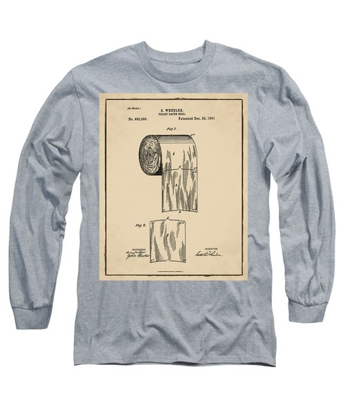Toilet Paper Roll Patent 1891 Sepia Long Sleeve T-Shirt