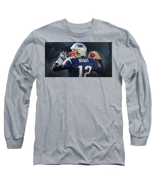 Long Sleeve T-Shirt featuring the painting Tom Brady Artwork by Sheraz A