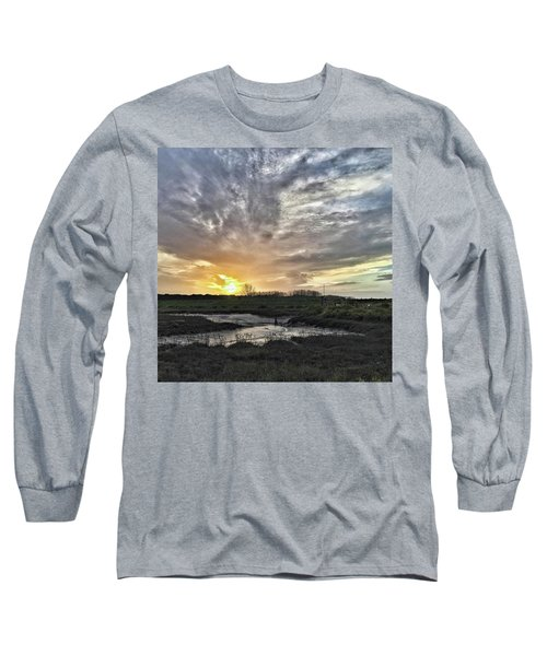 Tonight's Sunset From Thornham Long Sleeve T-Shirt by John Edwards