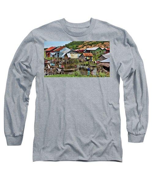 Tonle Sap Boat Village Cambodia Long Sleeve T-Shirt by Chuck Kuhn