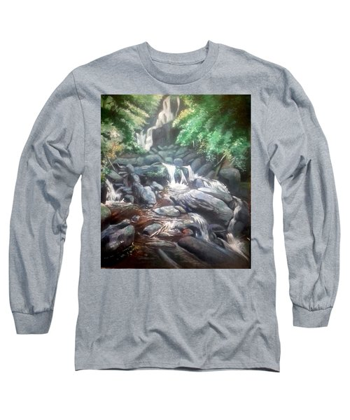 Long Sleeve T-Shirt featuring the painting Torc Waterfall County Kerry Ireland by Paul Weerasekera