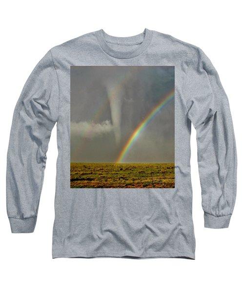 Tornado And The Rainbow II  Long Sleeve T-Shirt by Ed Sweeney