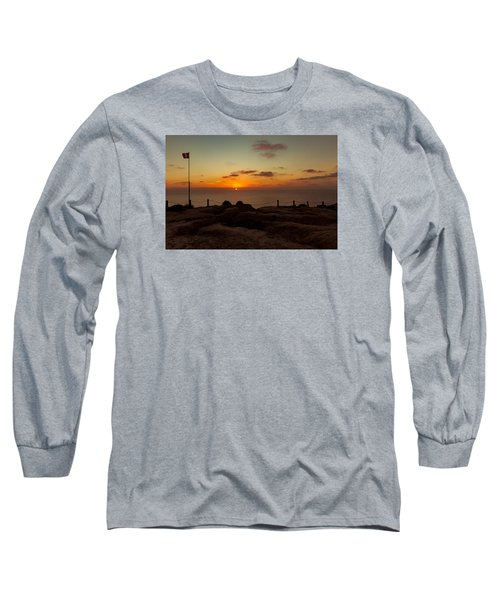 Long Sleeve T-Shirt featuring the photograph Torrey Pine Glider Port Sunset by Jeremy McKay