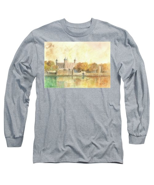 Tower Of London Watercolor Long Sleeve T-Shirt