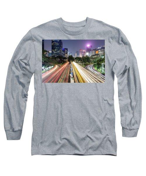 Traffic Night Rush In Jakarta, Indonesia Capital City.  Long Sleeve T-Shirt