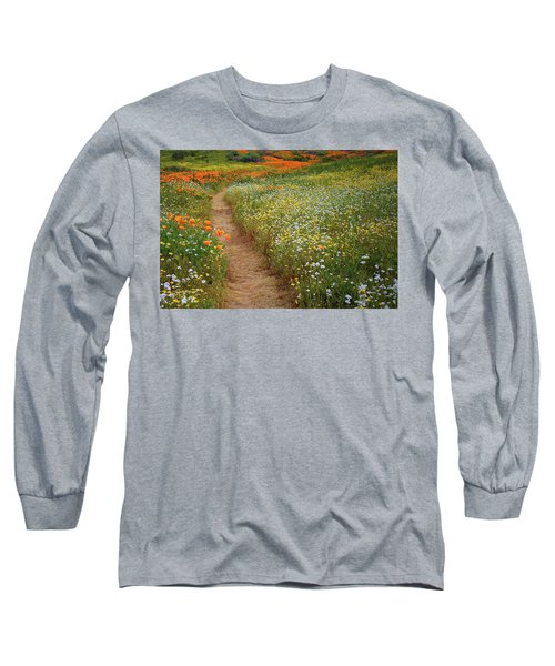 Long Sleeve T-Shirt featuring the photograph Trail Of Wildflowers At Diamond Lake In California by Jetson Nguyen