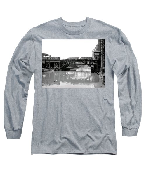 Long Sleeve T-Shirt featuring the photograph Trains Cross Jack Knife Bridge - Chicago C. 1907 by Daniel Hagerman
