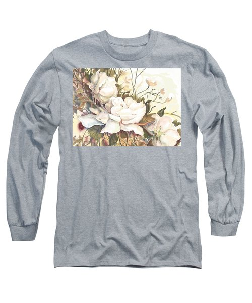 Tranquility Study In White Long Sleeve T-Shirt