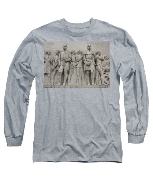 Travis And Crockett On Alamo Monument Long Sleeve T-Shirt