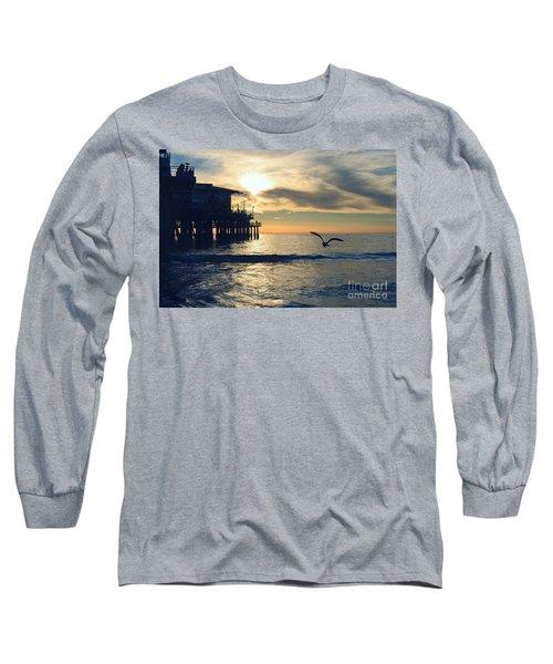 Seagull Pier Sunrise Seascape C1 Long Sleeve T-Shirt