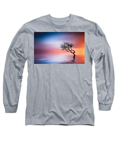 Tree At Lake Long Sleeve T-Shirt by Bess Hamiti
