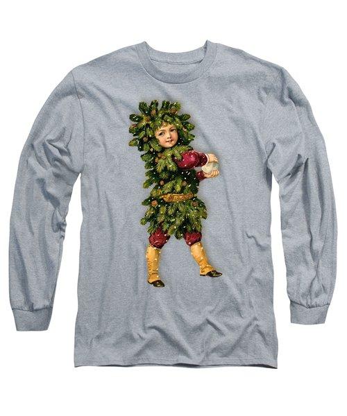 Tree Child Vintage Christmas Image Long Sleeve T-Shirt by R Muirhead Art